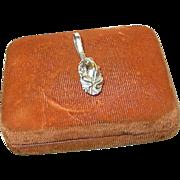SALE Vintage Pendant Sterling Frog on Water Lilly Leaf