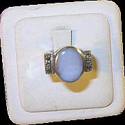 SALE Vintage Sterling Ring Marcasite & Blue Stone