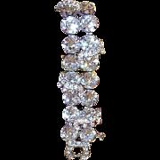 SALE Weiss Rhinestone Bracelet Double Link 1950's