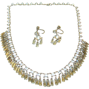 SALE Vintage Sterling Crystal Necklace & Earring Set