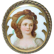 SALE Antique Miniature Portrait Brooch