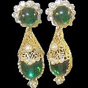 SALE Vintage Hattie Carnegie Drop Earrings Faux Emeralds & Diamonds