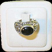 SALE Vintage Sterling Modernest Design Ring Black Onyx