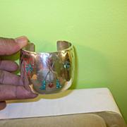 SALE Vintage Sterling Lg Cuff Bracelet Tepee & Birds