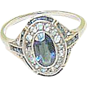 SALE Art Deco Faux & Sapphire Sterling Ring