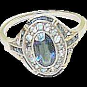 SALE Art Deco Faux & Sapphire Sterling Ring