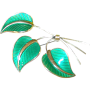 SALE Vintage Sterling Enamel Leaf Brooch by Albert Scharning Norway