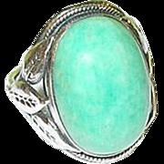 SALE Vintage Sterling & Jade Ring