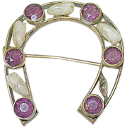 SALE Victorian Horseshoe Brooch Amethyst & White stones
