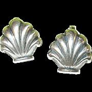 SALE Vintage Sterling Earrings Oyster Shell Shape
