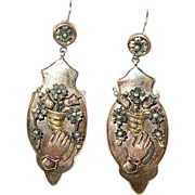 SOLD Victorian 10K Rose Gold Drop Earrings Fist & Cornucopia 1860's