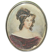 SALE Antique Miniature Portrait Painting Brooch 1820's by E.A.
