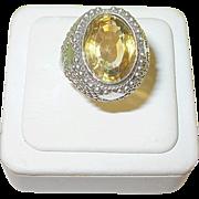 SALE Vintage Sterling & Faux Citrine Ring
