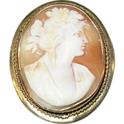 SALE Vintage Gold Filled Shell Cameo Brooch Pendant