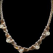 SALE Vintage Link Pearl Bibb  Necklace Gold Filled