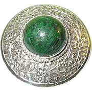 SALE Vintage Sterling Brooch Green Cabochon Stone Hand Chased