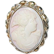 SALE Vintage Pink Shell Cameo Brooch 3 Dimensional Gold Filled