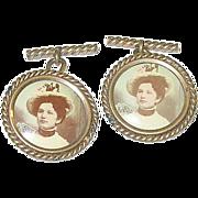 SALE Victorian Gold Filled Portrait Cuff Links