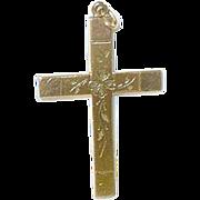 SALE Vintage Cross Pendant Gold Filled Hand Chased Design
