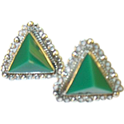 SALE Vintage Sterling & Green Onyx Earrings