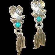 SALE Vintage Sterling Native American Drop Earrings Eagle & Feather