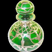 SALE Art Nouveau Green Perfume Bottle Silver Overlay