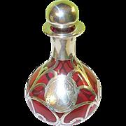 SOLD Art Nouveau Cranberry Glass Perfume Bottle Silver Overlay