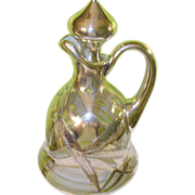 SALE Art Nouveau Decanter Silver Overlay