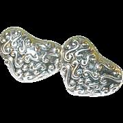 SALE Vintage Sterling Earrings Heart Shaped Repousse Work