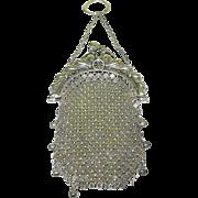 SALE Victorian Sterling Silver Mesh Bag Rococo Design