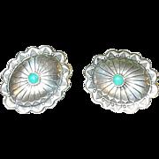 SALE Vintage Sterling & Turquoise Earrings Native American