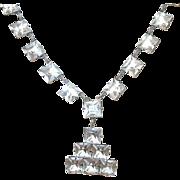 SALE Art Deco Sterling & Crystal Necklace & Pendant