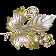 SALE Vintage Sterling Taxco Brooch Grapes & Leaf