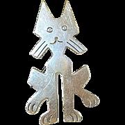 SALE Vintage Sterling Lg Brooch/Pendant Whimsical Cat
