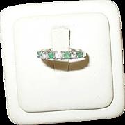SALE Vintage Sterling Faux Diamond & Faux Emerald Ring