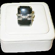 SALE Art Deco 14K Diamond & Black Onyx Ring