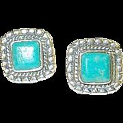 SALE Vintage Earrings Sterling Turquoise Raised Design