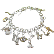 SALE Vintage Sterling Link Charm Bracelet & 13 Charms