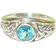SALE Vintage Sterling Ring Blue Stone