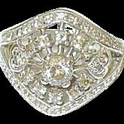 SALE Vintage Sterling & Faux Diamond Ring Openwork