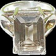 SALE Vintage Sterling Ring Smokey Glass Emerald Cut Stone