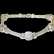 SALE Vintage Sterling Link Bracelet Pink Glass Stones