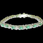 SALE Vintage Sterling Link Bracelet Faux Emerald & Faux Diamond