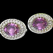 SALE Vintage Sterling Dane Craft Earrings Faux Amethyst