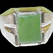 SALE Vintage Sterling Jade Ring Men's
