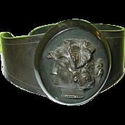 SALE Antique Gutta Percha Cameo Cuff Bracelet