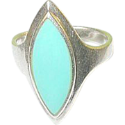 SALE Vintage Sterling & Faux Turquoise Ring