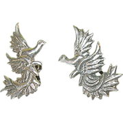 SALE Vintage Sterling Earrings Doves & Peace Branch