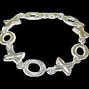 """SALE Vintage Sterling Link Bracelet """"Hugs & Kisses"""""""