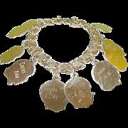 SALE Vintage Double Link Charm Bracelet Heart Design Gold Filled